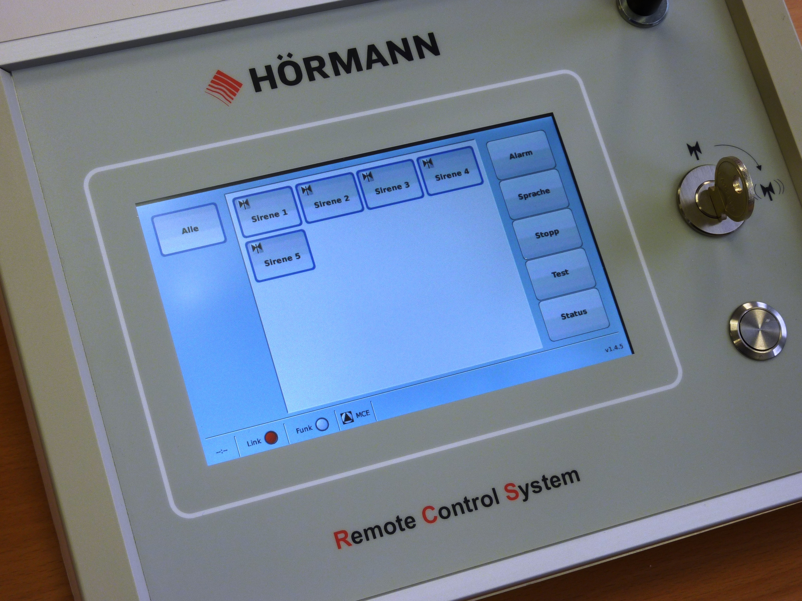 RCS siren control panel for warning systems