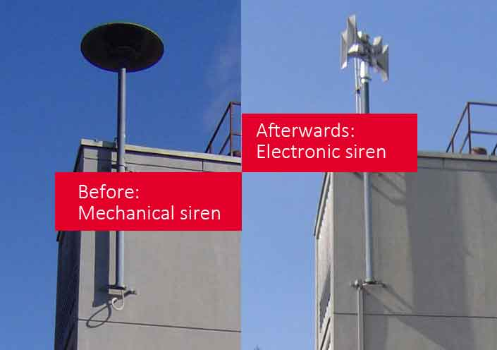mechanical siren replaced with electronic siren